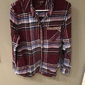 Shyanne Studded Plaid Top